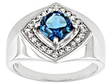 London Blue Topaz Rhodium Over Silver Mens Ring 1.95ctw
