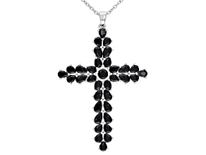 Black Spinel Rhodium Over Silver Pendant With Chain 4.52ctw
