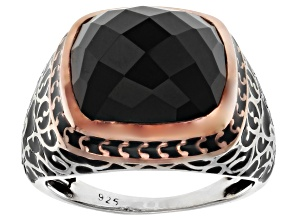 Black Onyx Rhodium & 18k Gold Over Silver Two-Tone Mens Ring