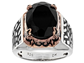 Black Onyx, Rhodium & 18k Gold Over Silver Two-Tone Mens Ring