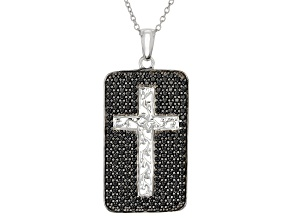 "Black Spinel Rhodium Over Silver ""Dog Tag"" Style Cross Pendant With Chain 2.47ctw"