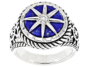 Blue lapis lazuli rhodium over silver mens nautical solitaire ring
