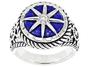 Blue lapis lazuli rhodium over silver mens nautical solitaire ring