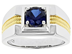 Blue Lab Created Blue Sapphire Rhodium & 18k Gold Over Silver Two-Tone Mens Ring 1.04ct