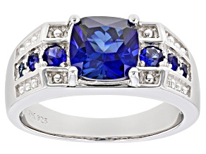 Blue Lab Created Sapphire Rhodium Over Silver Ring  2.88ctw