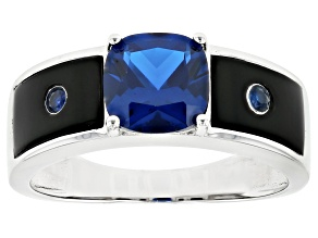 Blue Lab Created Spinel Rhodium Over Silver Mens Ring 2.12ctw