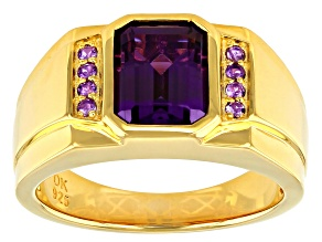 Purple Lab Created Color Change Sapphire 18k Yellow Gold Over Silver Mens Ring 3.15ctw
