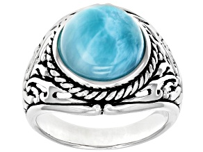 Blue Larimar Rhodium Over Sterling Silver Mens Solitaire Ring
