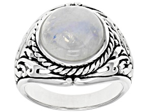 White rainbow moonstone rhodium over silver mens solitaire ring