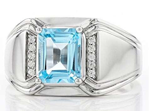 Sky Blue Topaz Rhodium Over Silver Mens Ring 2.44ctw