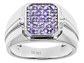 Blue Tanzanite Rhodium Over Silver Mens Ring .68ctw