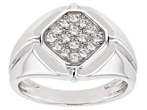 White Zircon Rhodium Over Silver Mens Ring .49ctw