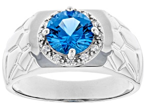 Blue Lab Created Spinel Rhodium Over Silver Mens Ring 1.86ctw