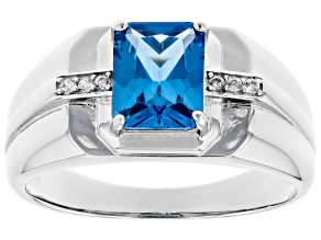 Blue Lab Created Spinel Rhodium Over Silver Mens Ring 2.41ctw