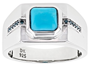 Blue Sleeping Beauty Turquoise Rhodium Over Silver Mens Ring .07ctw