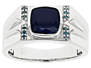 Blue Sapphire Rhodium Over Silver Ring 2.32ctw