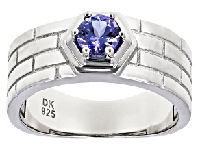 Blue Tanzanite Rhodium Over Silver Ring .47ctw