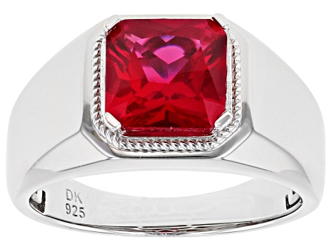 Red Lab Created Ruby Rhodium Over Silver Ring 3.47ct