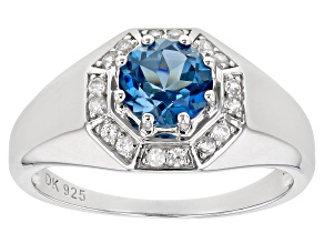 London Blue Topaz Rhodium Over Silver Mens Ring 1.82ctw
