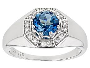 London Blue Topaz Rhodium Over Silver Mens Ring 1.82ctw