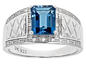 London Blue Topaz Rhodium Over Silver Mens Ring 2.47ctw
