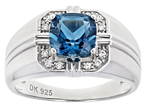 London Blue Topaz Rhodium Over Silver Mens Ring 2.69ctw