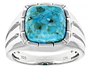 Blue Turquoise Rhodium Over Sterling Silver Mens Ring