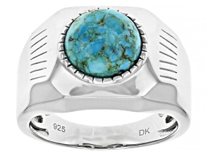 Blue Turquoise Rhodium Over Silver Solitare Mens Ring