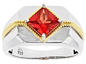 Orange Lab Created Padparadscha Sapphire Rhodium & 18k Gold Over Silver Two-Tone Mens Ring 1.55ct