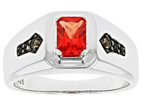 Orange Lab Created Padparadscha Sapphire Rhodium Over Silver Ring 1.14ctw