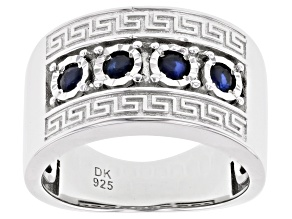 Blue Sapphire Rhodium Over Silver Mens Band Ring .60ctw