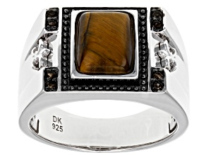 Brown Tiger's Eye Rhodium Over Sterling Silver Ring