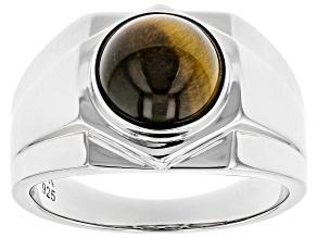 Brown Tiger's Eye Rhodium Over Silver Mens Ring