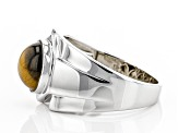 Brown Tiger's Eye Rhodium Over Silver Mens Ring