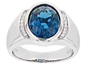 London Blue Topaz Rhodium Over Silver Mens Ring 5.68ctw