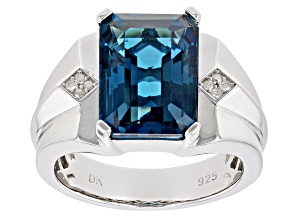 London Blue Topaz Rhodium Over Silver Mens Ring 8.11ctw