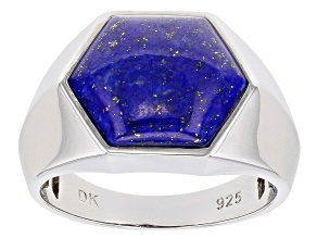 Blue Lapis Lazuli Rhodium Over Sterling Silver Mens Ring