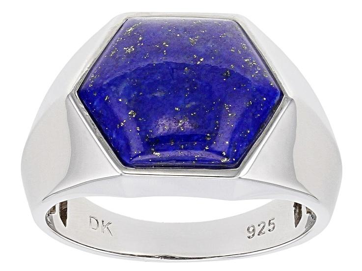 Modern Lapis Lazuli and Brass Ring Men Lapis Lazuli Inlay Brass Ring Polished Finish Mens Lapis Lazuli and Brass Geometric Ring