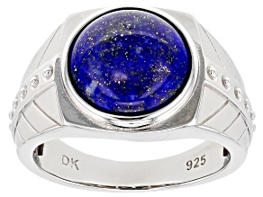 Blue Lapiz Lazuli Rhodium Over Sterling Silver Mens Ring