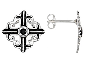 Black Spinel Sterling Silver Cross Earrings .13ctw