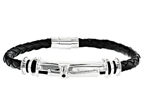 Black Spinel Sterling Silver Woven Imitation Leather Bracelet .06ct