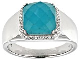 Blue Amazonite Rhodium Over Sterling Silver Mens Ring .19ctw