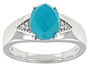 Blue Amazonite Rhodium Over Sterling Silver Ring .03ctw
