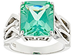 Green Lab Created Spinel Rhodium Over Silver Mens Ring 7.65ct