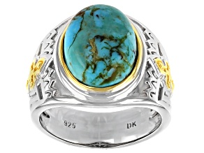 Blue Turquoise Rhodium and 18K Yellow Gold Over Sterling Silver Two-Tone Mens Ring.