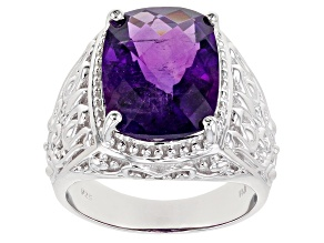 Purple African Amethyst Rhodium Over Silver Mens Ring 9.45ct