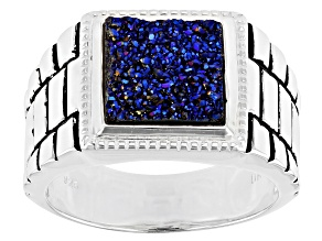 Multicolor Drusy Quartz Rhodium Over Sterling Silver Mens Ring