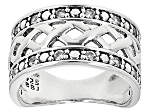 White Zircon Rhodium Over Sterling Silver Band Mens Ring .80ctw