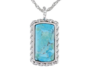 Blue Turquoise Rhodium Over Silver Pendant With Chain