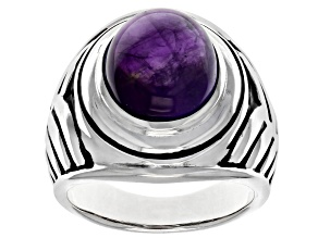 Purple Amethyst Rhodium Over Sterling Silver Mens Ring 7.52ctw